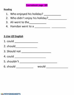 Reading and vocabulary worksheet preview