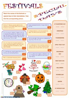 Interactive worksheet Special days