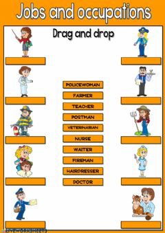 Interactive worksheet Jobs and occupations - drag and drop