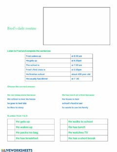 Interactive worksheet Listening daily activities (subtitle)