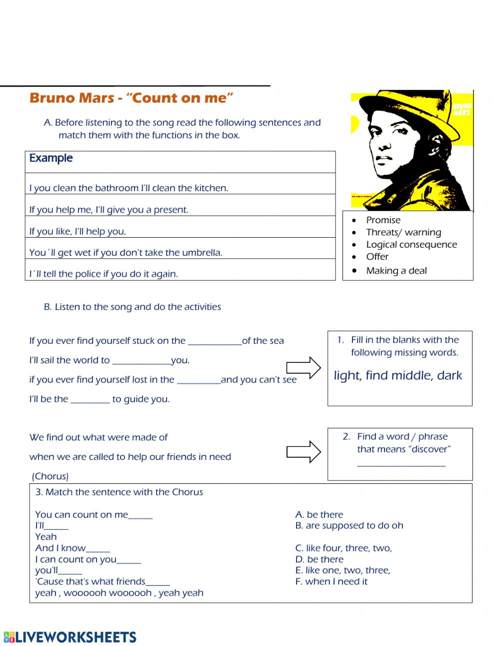 - Listening Song Count On Me Bruno Mars - Interactive Worksheet