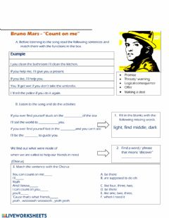Interactive worksheet Listening song Count on me bruno mars