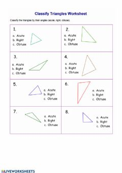 Interactive worksheet Classify Triangles