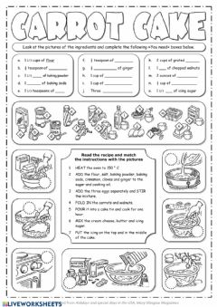 Interactive worksheet Carrot cake recipe