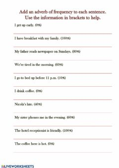Interactive worksheet Adverbs of frequency 2