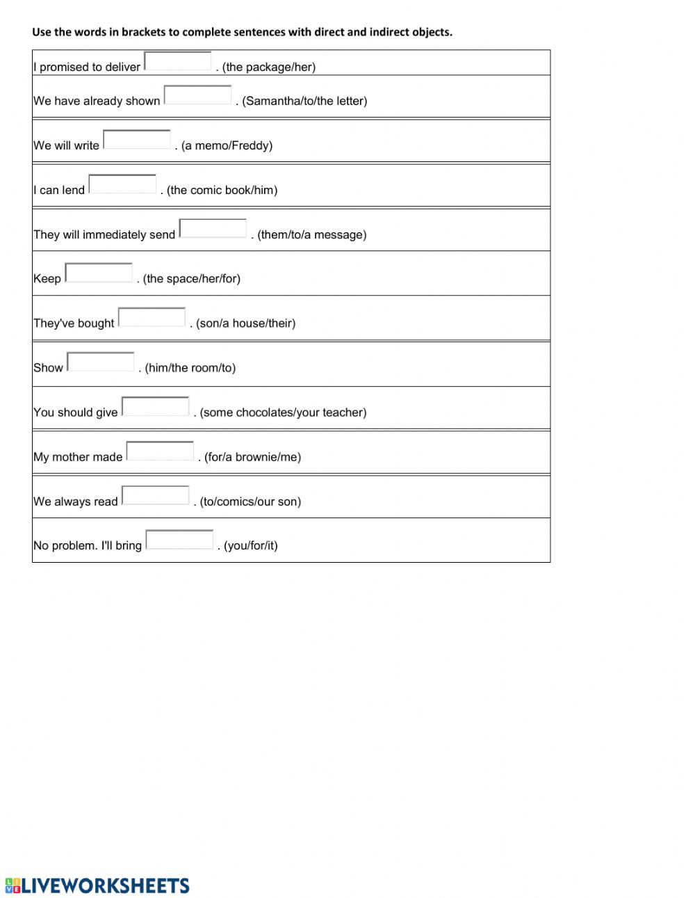 Direct And Indirect Objects Worksheet