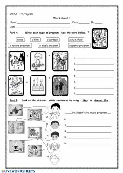 Interactive worksheet TV Program
