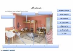 Interactive worksheet Mi habitación