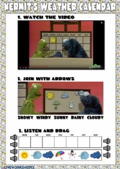 Interactive worksheet Kermit's Weather Calendar