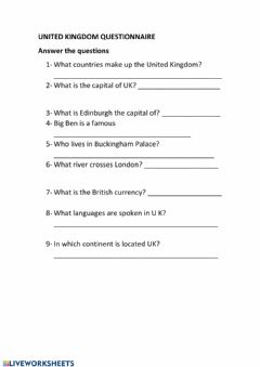 Interactive worksheet Uk