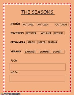 Interactive worksheet The seasons