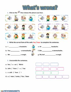 Interactive worksheet Health problems