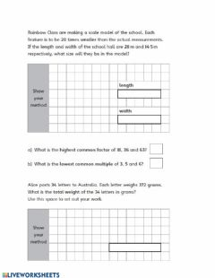 Interactive worksheet Math revision part 2
