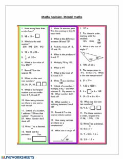 Interactive worksheet Mental Maths