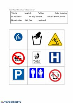 Interactive worksheet Common Signs