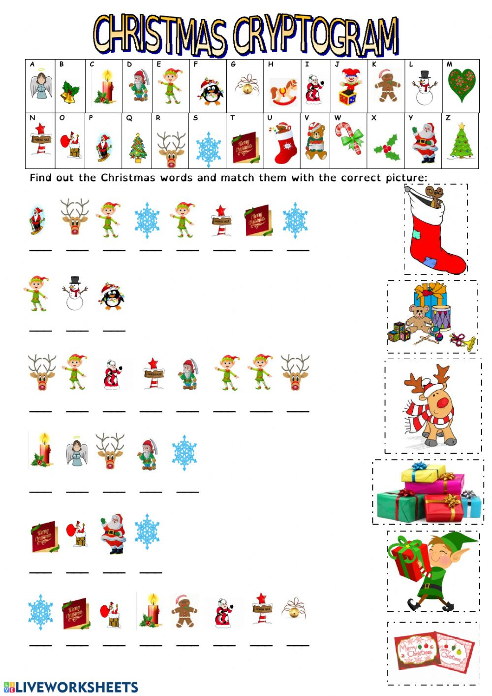christmas cryptogram interactive worksheet