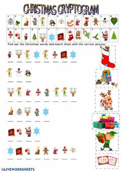 Christmas Cryptogram worksheet preview