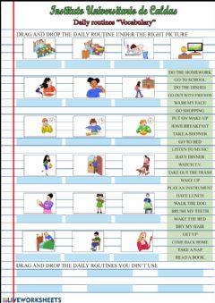 Ficha interactiva Daily routines vocabulary