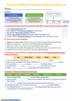 Present Perfect VS Present Perfect Continuous worksheet preview