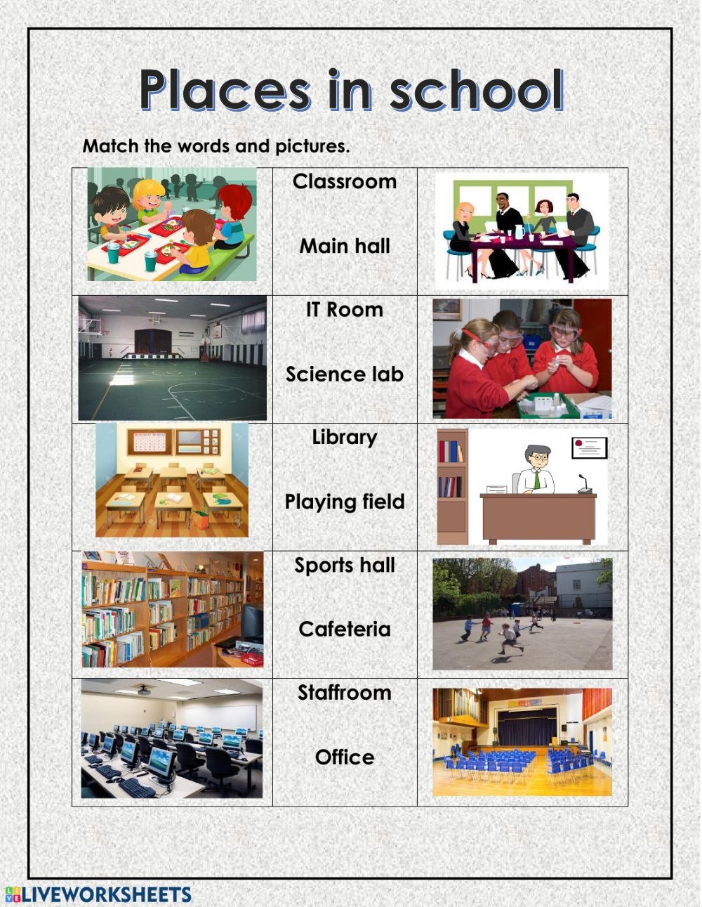 vocabulary places in school interactive worksheet. Black Bedroom Furniture Sets. Home Design Ideas