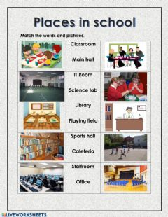 Interactive worksheet Vocabulary: Places in School