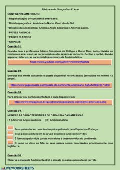 Interactive worksheet Geografia 8º Ano