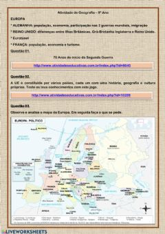 Interactive worksheet Geografia 9º Ano