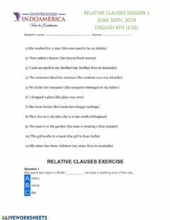 Interactive worksheet Relative clauses