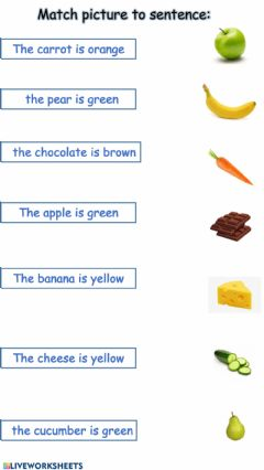 Interactive worksheet Match food to sentence
