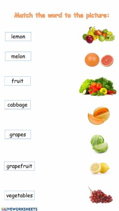 Interactive worksheet Food match -2