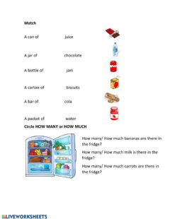 Ficha interactiva Food and quantifiers