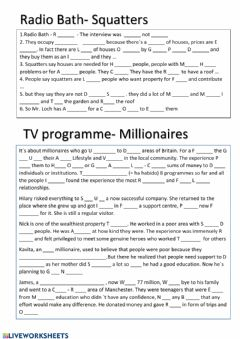 Interactive worksheet Squatters and millionaires