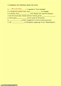 Interactive worksheet Complete the sentences about the texts