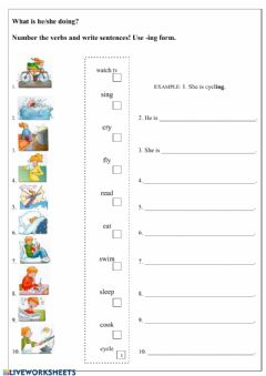 Interactive worksheet Present continuous - Tiger Time 5