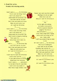 Interactive worksheet Christmas song worksheet