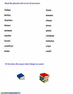Interactive worksheet Plurals for kids