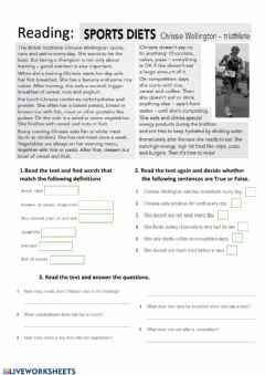 Interactive worksheet Food and sport
