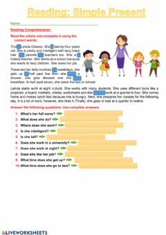Interactive worksheet Daily Routine. Simple Present Reading