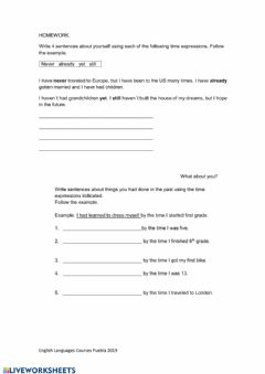 Present and Past Perfect worksheet preview
