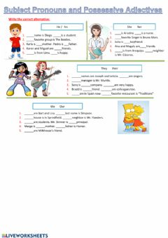 Interactive worksheet Possessive Adjectives and Subject Pronouns