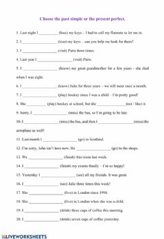 Present Perfect and Past Simple worksheet preview