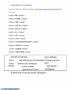 Interactive worksheet Fixed versus Growth Mindset