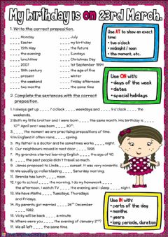 Interactive worksheet My birthday is on 23rd March