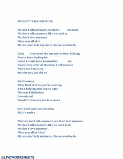 Interactive worksheet Song: We don't talk any more