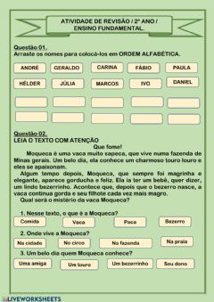 Interactive worksheet Interpretação de texto