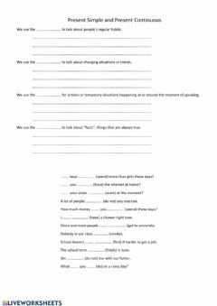 Interactive worksheet Present Simple-Continuous
