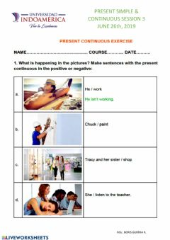 Interactive worksheet Present simple & continuous