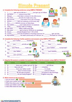 Ficha interactiva Simple Present Exercises