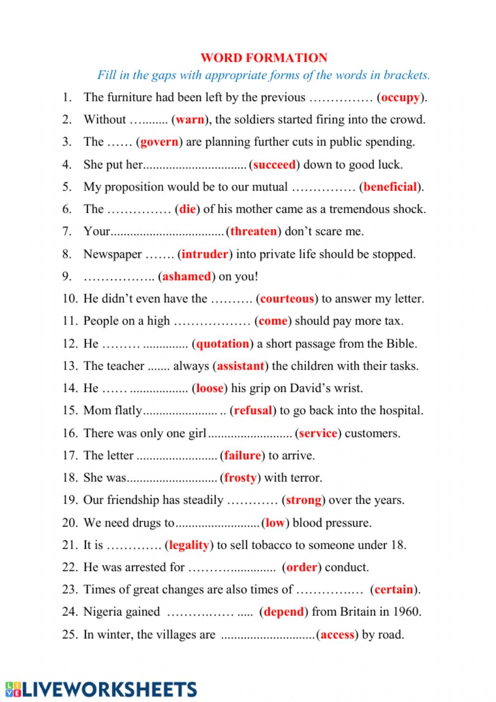 word formation english as a second language esl online exercise. Black Bedroom Furniture Sets. Home Design Ideas