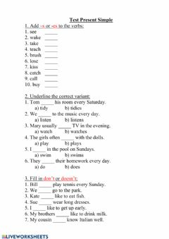 Interactive worksheet Present Simple Test